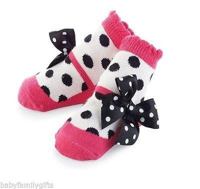 Mud Pie Sock Hop Baby Girl Pink Mary Jane Polka Dot Zoey Socks 176266