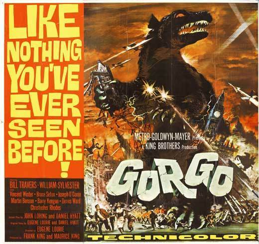 GORGO Movie POSTER 30x30 Bill Travers William Sylvester Vincent Winter Bruce