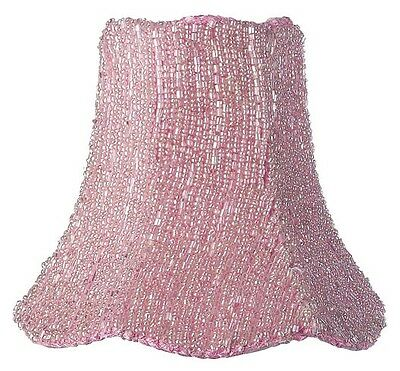 - Glass Beads on Pink Fabric Clip-On Chandelier or Sconce Shade 92824