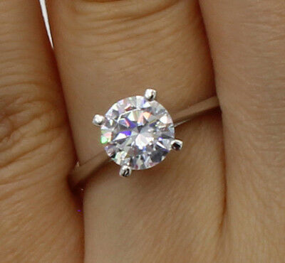 1.0 Ct 14K White Gold Round 4 Prong Basket Set Classic Solitaire Engagement Ring 14k White Gold Classic Prong