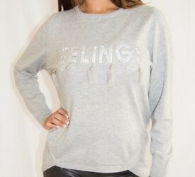 Light Grey Soft Knit Jumper with Feather Tassels and Stone Design - Size 10