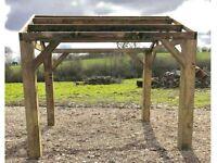 new 2.4m x 2.4m wooden pergola hot tub bbq shelter car port