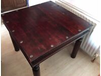 Sheesham Wood Square Table and 2 Chairs