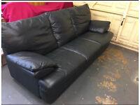 Blue leather 3 seat sofa
