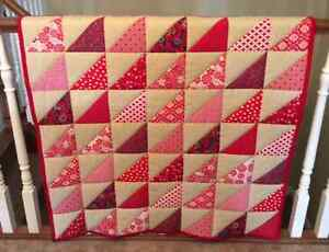 CRIB QUILT - RED & TAN TRIANGLES London Ontario image 2