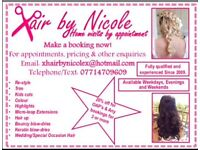 Hair by Nicole. Call or email for appointment/pricing enquiry. Mobile Hairdressing