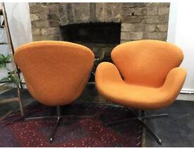 Set of 2 orange vintage chairs.
