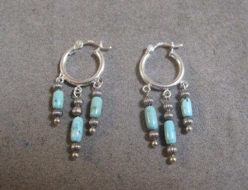 Vintage Southwestern Turquoise Sterling Silver Dangle Earrings