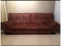 £80 brown soft worn leather look modern sofa bed from Benson for beds