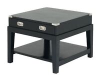 Eichholtz Military Collection - living room - 2x coffee table + 2x side table- black wood, glass top