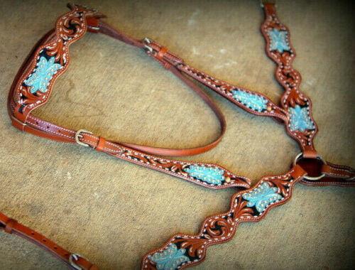 Western Horse Leather Tack Set w/ Crystal Rhinestones Bridle + Breast Collar