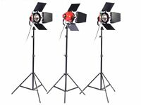 3 x 800W Red Head Continuous Studio/Photography/Video Lighting Kit with Stands & Holdall