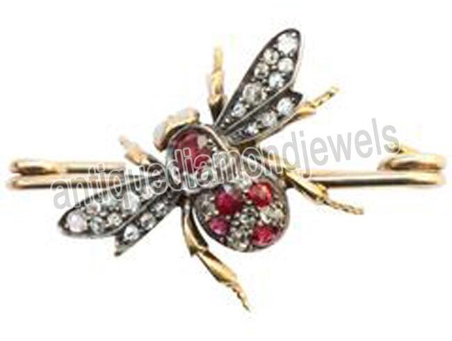1.45ct Rose Cut Diamond Antique Victorian 925 Silver Ruby Gemstone Brooch Pin