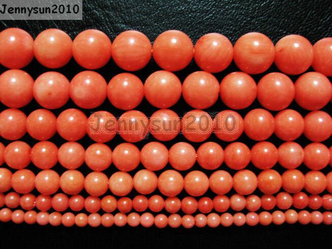 Natural Coral Gemstone Round Beads Orange 16