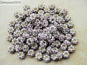 50pcs Crystal Rhinestones Pave Silver Rondelle Spacer Beads Fit European Charm