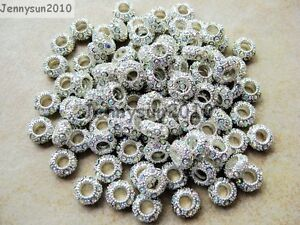 50pcs Big Hole Crystal Rhinestone Pave Rondelle Spacer Beads Fit European Charm