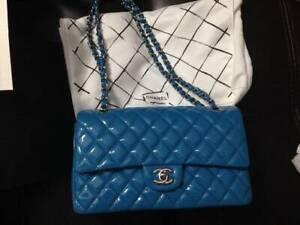 Classic Chanel Blue Patent Leather Double Flap $6,400 No PayPal CONDIT