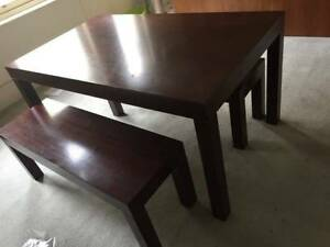 Solid Wood Dining Table with Bench Seats