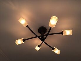 Black Chrome Ceiling Light Fittings (Two available)