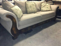 Couch w/  wood trim  - DELIVERY