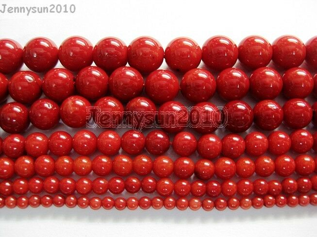 Red Natural Coral Gemstone Round Spacer Beads 16
