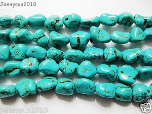 Blue-Howlite-Turquoise-Gemstone-12mm-Freeformed-Nugget-Loose-Beads-16-Strand