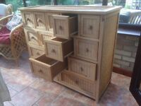 Raffia fronted Wooden Chest of Drawers