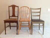 9 Wooden Chairs $15-$20 each