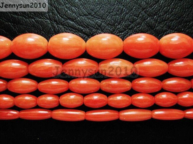 Natural Coral Gemstone Rice Loose Beads Orange 16