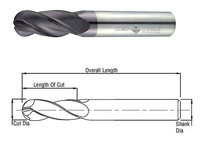 Cobra Carbide 25578 9 Mm Carbide End Mill Ball Nose 4 Fl Uncoated Oal 75 Mm Usa