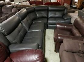 Grey leather air corner sofa recliner