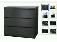 2 sets of malm 3 drawer chest