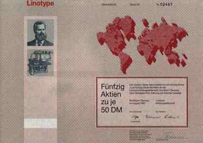 Linotype AG Eschborn 1987 Hell Kiel Heidelberg Bad Homburg rote 2500 DM Taunus