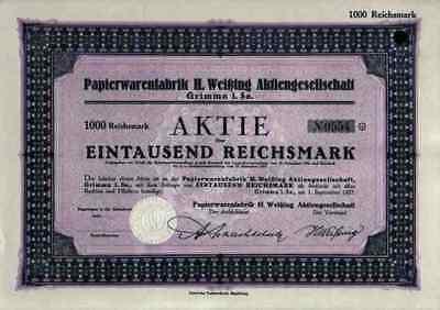 Papierwaren Weißing 1927 Grimma Zwenkau Sachsen VEB Pappnasen Fabrik 1000 RM