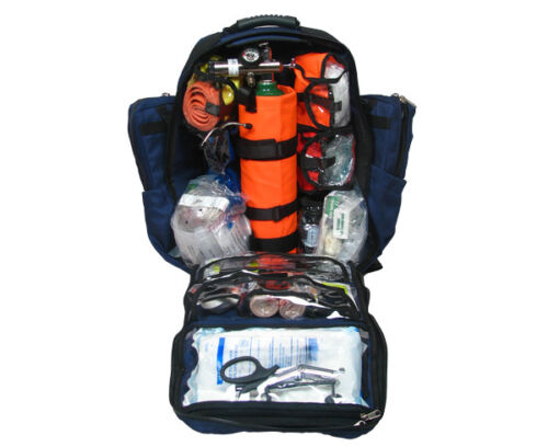 Ultimate Pro O2 Oxygen Backpack Trauma Kit, D Cylinder - Fully Stocked - Blue
