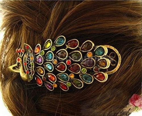 1X Vintage Girls Women Crystal Rhinestone Peacock Hair Barrette Clip HairpinC_fd