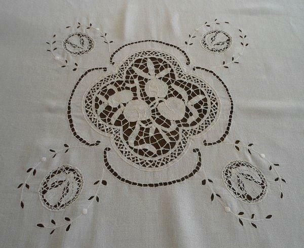 Antique French Linen Tablecloth Figural Needle Lace Fruit Apples Pears 63""