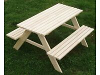 NEW - Wooden Children Kids Outdoor Picnic Table + Benches