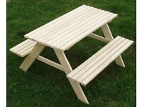 New Wooden Children Kids Outdoor Picnic Table + Benches