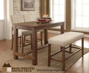 COUNTER HEIGHT TABLE, 2 STOOLS AND BENCH IN WEATHERED PINE FINISH ON SALE IN MISSISAUGA - CALL 905-451-8999(BD-5)