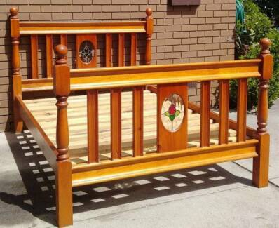beautiful solid timber queen bed frame with mattress