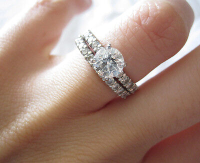 2.10 Ct. Round Cut Pave Natural Diamond Wedding Set - GIA Certified & Appraised