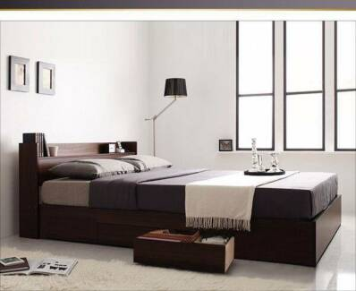 Osaka Queen Bed Storage Bed Head Shelf Frame Walnut Bedroom MR1 Hume Area Preview
