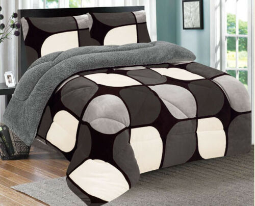 3 Piece Gray Black White Flannel Sherpa Blanket Queen/King Size 7 lbs Bedding