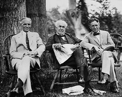 Genius Inventors Henry Ford Thomas Edison   Harvey Firestone Glossy 8X10 Photo