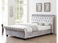 Double Bed Frame deep buttoned in silver crushed velvet