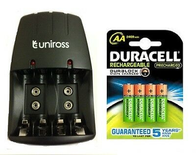 UNiROSS AA/AAA/PP3 9v COMPACT CHARGER 4 x AA 2500mAh DURACELL DURALOCK BATTERIES