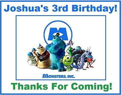 (18)Personalized Monsters Inc. Party Stickers,3 1/4