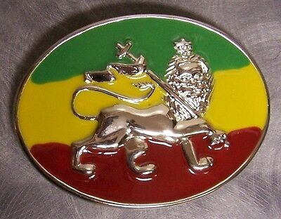 Pewter Belt Buckle National Flag of Ethiopia Lion of Judah (Flag Pewter Belt Buckle)