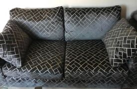 Black and Grey Patterned Sofa 2 years old from NEXT